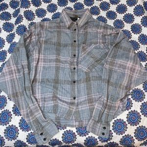 Free People Plaid Button Up Blouse